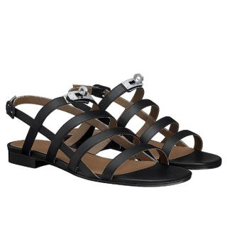 Hermes Black Transat Sandals PHW