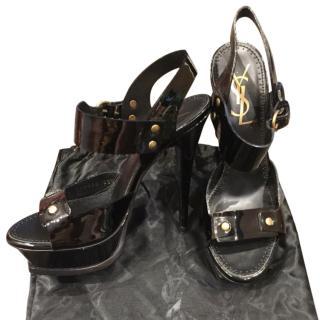 Yves Saint Laurent Black Patent Leather Sandals