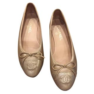 Chanel Gold Smooth & Grained Leather Ballerina Flats