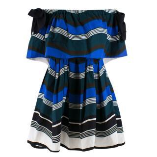 Fendi Blue Striped Bardot Skater Mini Dress