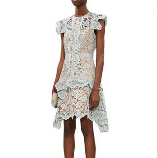 Self Portrait Puff-sleeve floral-lace mini dress