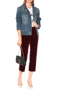 Saint Laurent Burgundy Cropped Velvet Trousers