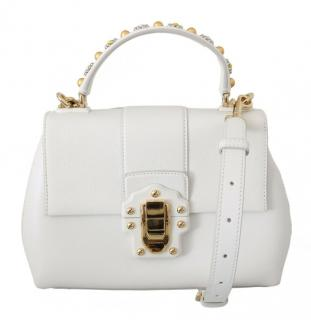 Dolce & Gabbana White Leather Studded Top Handle Lucia Bag