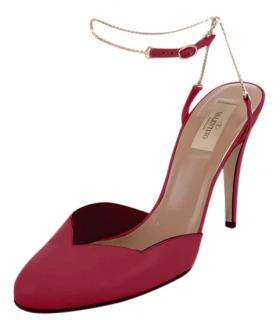 Valentino Red Leather Scalloped Chain Strap Pumps