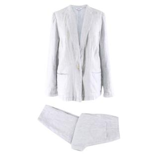 Bora Blue Striped Linen Trousers And Jacket