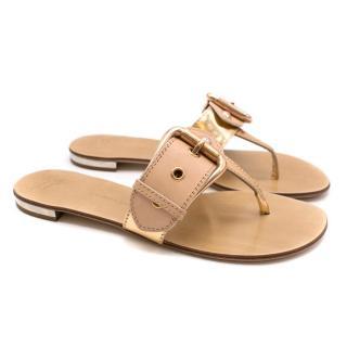 Giuseppe Zanotti Metallic Nude Buckle Detail Thong Sandals