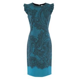 Emilio Pucci Blue Lace Printed Dress