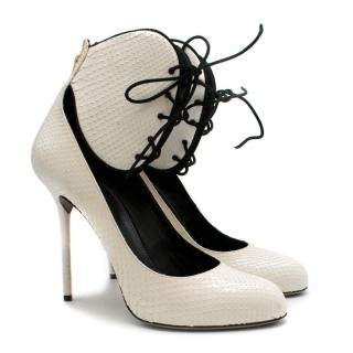 Sergio Rossi White Snakeskin Lace-Up Pumps