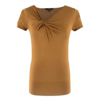 Gucci Bronze Gathered Short Sleeve Knit Top