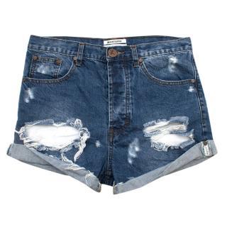 One X One Teaspoon Blue Distressed Denim Shorts