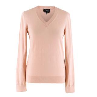 A.P.C Pink Edina Cotton and Cashmere Sweater