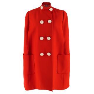 Alexander McQueen Red Wool & Silk Cape Coat