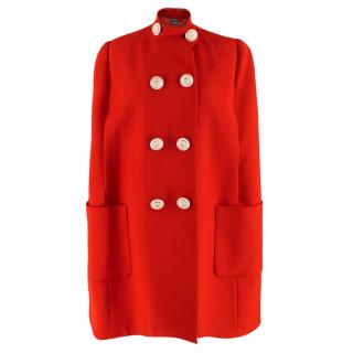 Alexander McQueen Red Wool & Silk Cape Coat