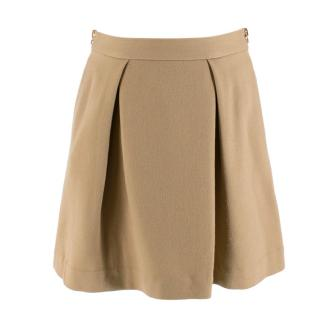 Phillip Lim Tan Wool Blend Pleated Mini Skirt