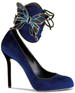Sergio Rossi Blue Velvet Creatures of The Night Butterfly Pumps