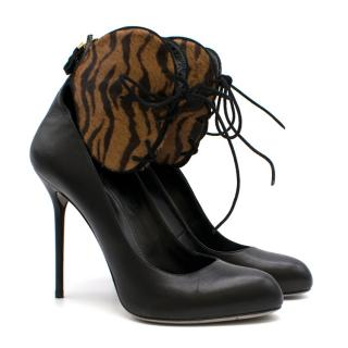 Sergio Rossi Black Leather & Animal Print Calf Hair Pumps