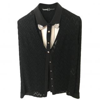 Versace Black Embellished Open Blouse