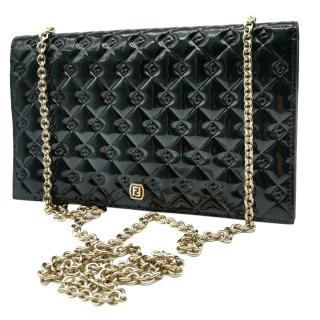 Fendi Black Patent Leather Fendimania Quilted Shoulder bag