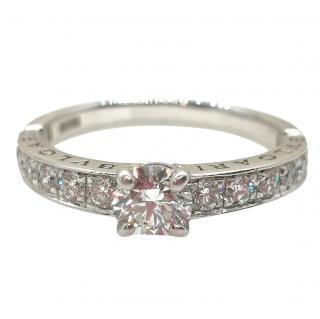Bvlgari Diamond Set Solitaire Platinum Ring
