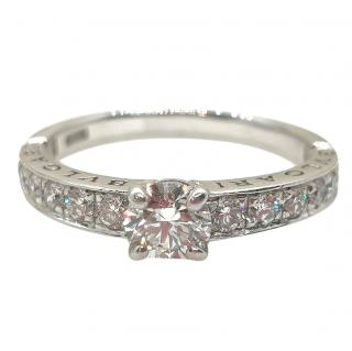 Bvlgari Diamond Set Solitaire Platinum Ring