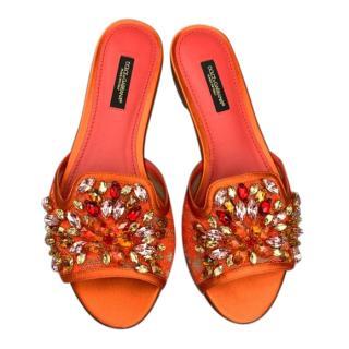 Dolce & Gabbana Orange Lace Crystal Embellished Sandals