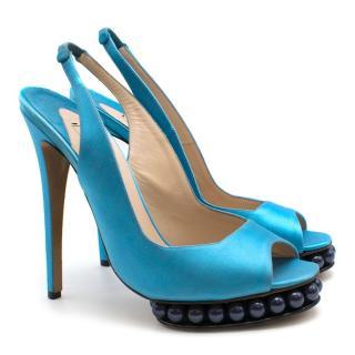 Nicholas Kirkwood Turquoise Beaded Platform Slingback Heels