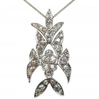 Bespoke White Gold Victorian Diamond Pendant Necklace