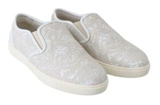 Dolce & Gabbana White Lace Slip-On Sneakers