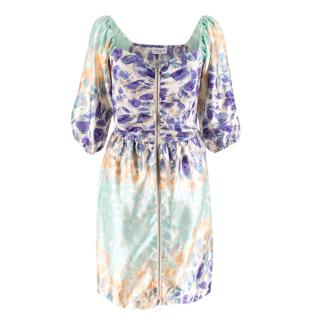 Hoffman Printed Zip Front Satin Dress