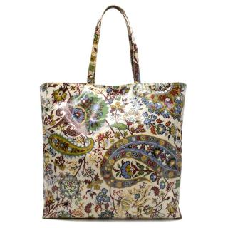 Etro Paisley Print Vinyl Coated Tote Bag