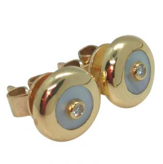 Bespoke Mother of Pearl Round Diamond Earrings
