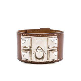 Hermes Collier de Chien Brown Leather Studded Bracelet