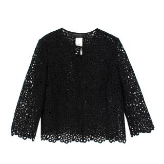 Marina Rinaldi Black Floral Lace Cardigan
