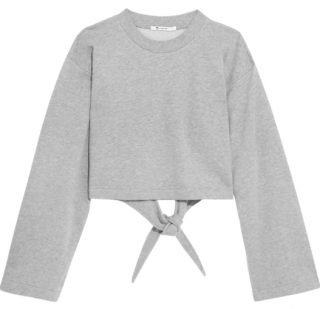 T by Alexander Wang Tie-back cropped cotton-blend jersey sweatshirt