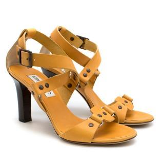 Jimmy Choo Yellow Studded Leather Heels