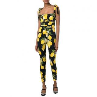 Dolce & Gabbana Lemon-Print Charmeuse Jumpsuit