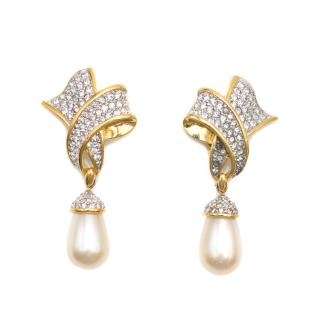 RSwarovski Gold Plated Crystal Pearl Clip-on Earrings