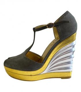 Yves Saint Laurent Suede & Metallic Leather T-Bar Wedges