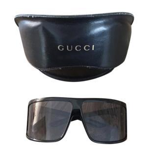 Gucci oversized black shield sunglasses