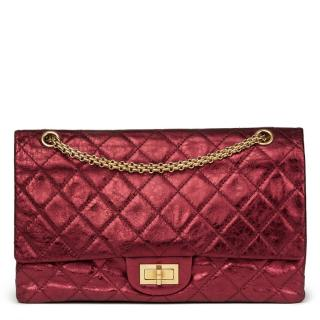 Chanel metallic dark red quilted re issue double flap bag