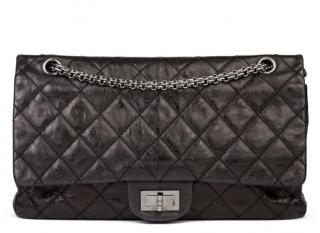 Chanel Black Metallic Leather 2.55 Reissue Double Flap Bag