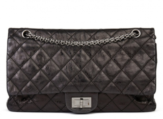 Chanel Black Metallic Leather 2.55 Reissue Double Flap Bag