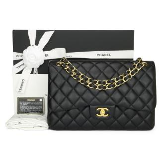 Chanel Black Leather Classic Double Flap Jumbo Bag