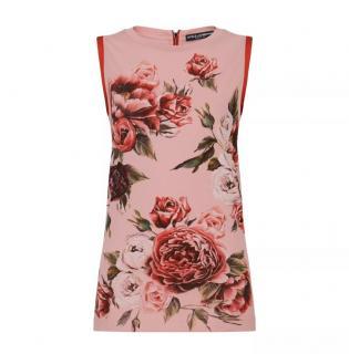 Dolce & Gabbana Pink Sleeveless Floral Print Top