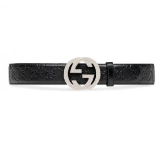 Gucci Black Signature GG Belt - Size 105