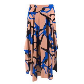 By Malene Birger Pink Silk Patterned Asymmetrical Skirt