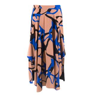 By Malene Birger Pink Silk Patterned Asymmetrical Skirt