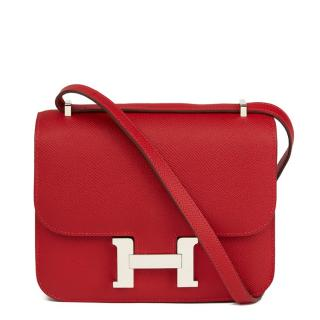 Hermes Rouge Casaque Constance 18 in Epsom Leather