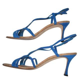 Manolo Blahnik Martina Blue Suede Strappy Sandals