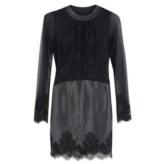 Philip Armstrong Black Leather and Lace Bodycon Dress